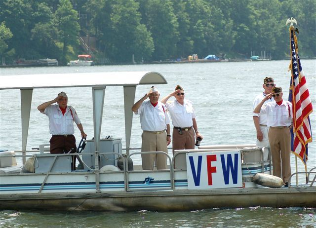 Veterans Salute from Their Boat